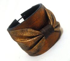 Leather copper color bow cuff bracelet by julishland