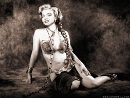Monroe as Slave Leia Sepia by Rabittooth