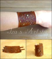 Steampunk Leather Cuff I by izasartshop