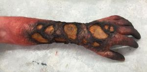 Charred Forearm Makeup by VictorianSpectre
