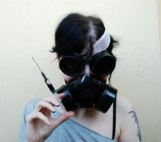 Me gas mask, goggles, fake blood, syringe 3 by SilvieT-Stock