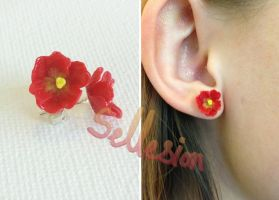 Red Tulip Stud Earrings by Sellesion