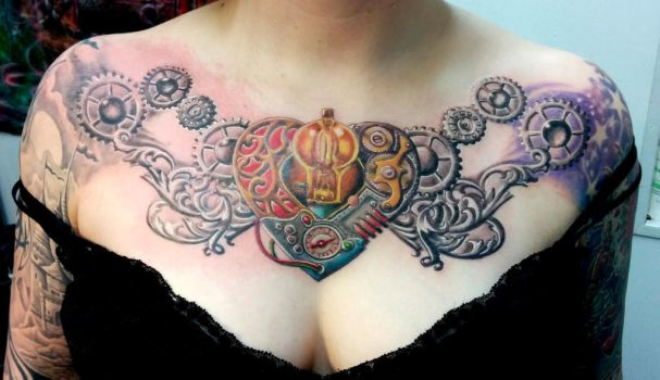 Stempunk Heart Tattoo by catbones