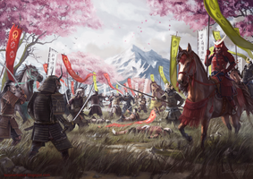 Samurais battle by Emkun