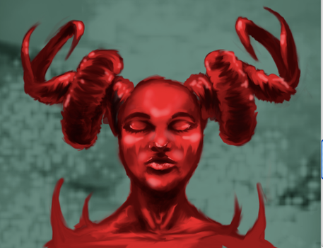 Horned woman by Mellicookie