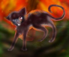Ashfur in flames by blackmuttofdoom