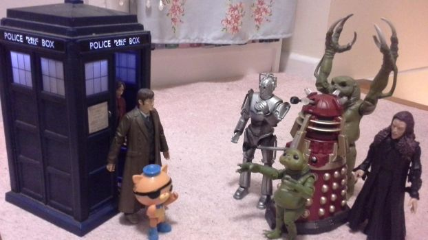 The Doctor, Kwazii and the monsters by NeversideFaerie