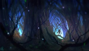 daily speedpaint 039 - haunted forest #2 by iDaisan