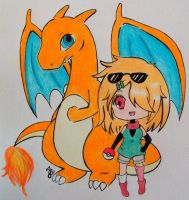 Request for Rannie-chan Ringo with her Charizard by Windydy