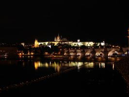 Prague Castle at night by Meernebel