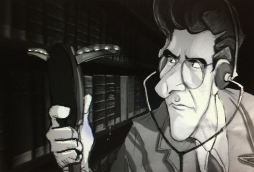 Egon Spengler in the Library by SarahMiele