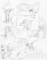 Tyrak and Kyuri Sketch Dump by Temorali
