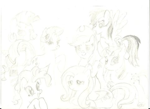 A sektch of mlp mane six, zoom in to see the lines by WarAtFimFiction