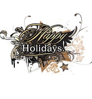 Happy Holidays TEXT PNG by LavitaDistress