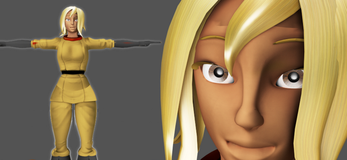 Dee a female character made  in Blender by alimayo