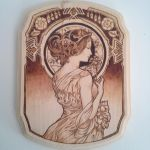 Alphonse Mucha inspired wood burning 2 by TriforceCreations