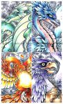Mythos - dragons, gryphon and phoenix.. oh my! by dizziness