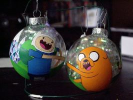Adventure time - Finn and Jake ornaments by CrystalC33