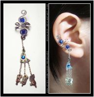 Steampunk Blue Tripod ear cuff by Meowchee