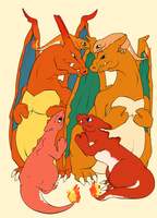 Charizard Family v-c by kitsune-roka