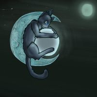 The cat and the moon by Emokittyfan