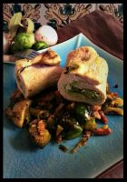 Stuffed roll turkey and brussels sprout by Drac0ntias