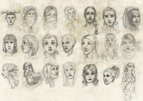 Female faces 03 . by Tpose
