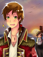 APH: Pirate!Spain and Chibi!Romano by Jaskierka