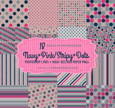 18 Navy Pink Polka Dots Patterns and Backgrounds by fiftyfivepixels