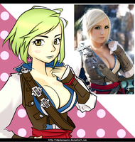 Anime Style Jessica Nigri / Assassin's Creed by DipolarSquire