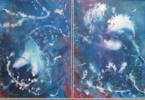 Abstract blue diptych-no. 1 by pfeight