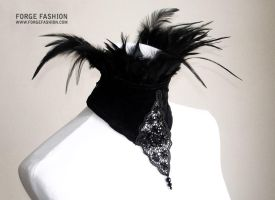 Velvet Beaded Collar with Feather Trim by Trinitynavar