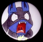 Angry Lucario Button by Taskidog