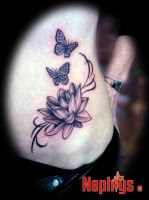 Lotus' butterflies by NephtysTattoo