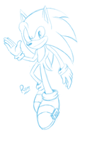 Blue Sonic, Blue sketch by Rokitoki