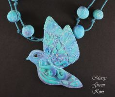 Polymer clay bird necklace by MerryGreenKiwi