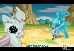 Aura Day Special : Riolu Vs. Mewtwo by Coshi-Dragonite