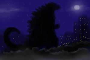 Godzilla approaching by Koku-chan