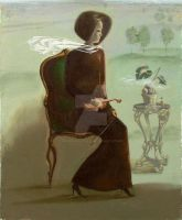 Sitting with the violin in the brown dress by AmsterdamArtGallery