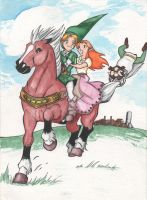Epona, Link, Malon and Ingo Watercolor by Miss-Zeldette