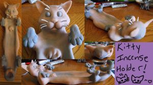 Cat Incense Holder (Unpainted) by Yoraeryu
