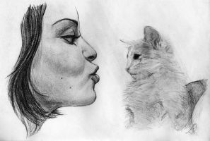 the girl and the kitten by brockscence