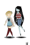 Modern Fionna and Marceline by rawr-smile13