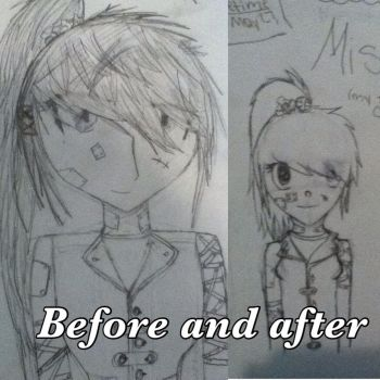 Before and after of my oc: Misako by i-rainbow-skittles