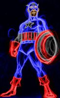 cap america neon by AlanSchell