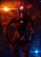 Mysterious Warrior- Tali'Zorah by RiptideX1090