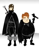 Jon Snow + Samwell Tarly by Sir-Heartsalot