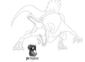 Spinosaurus Line Art July 2014 by purapuss