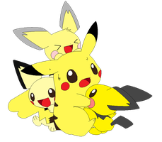 Pichu Trio and their older sister by maxthewarrior