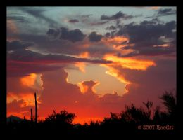 Glowing Red Monsoon Sunset by RooCat